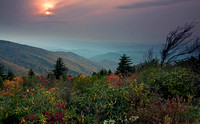 Setting sun in autumn haze, Unaka Mtn. Wilderness