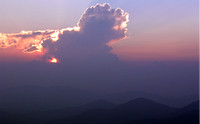Cumulus cloud at sunset from Mt. Pisgah, Blue Ridge Pkwy.